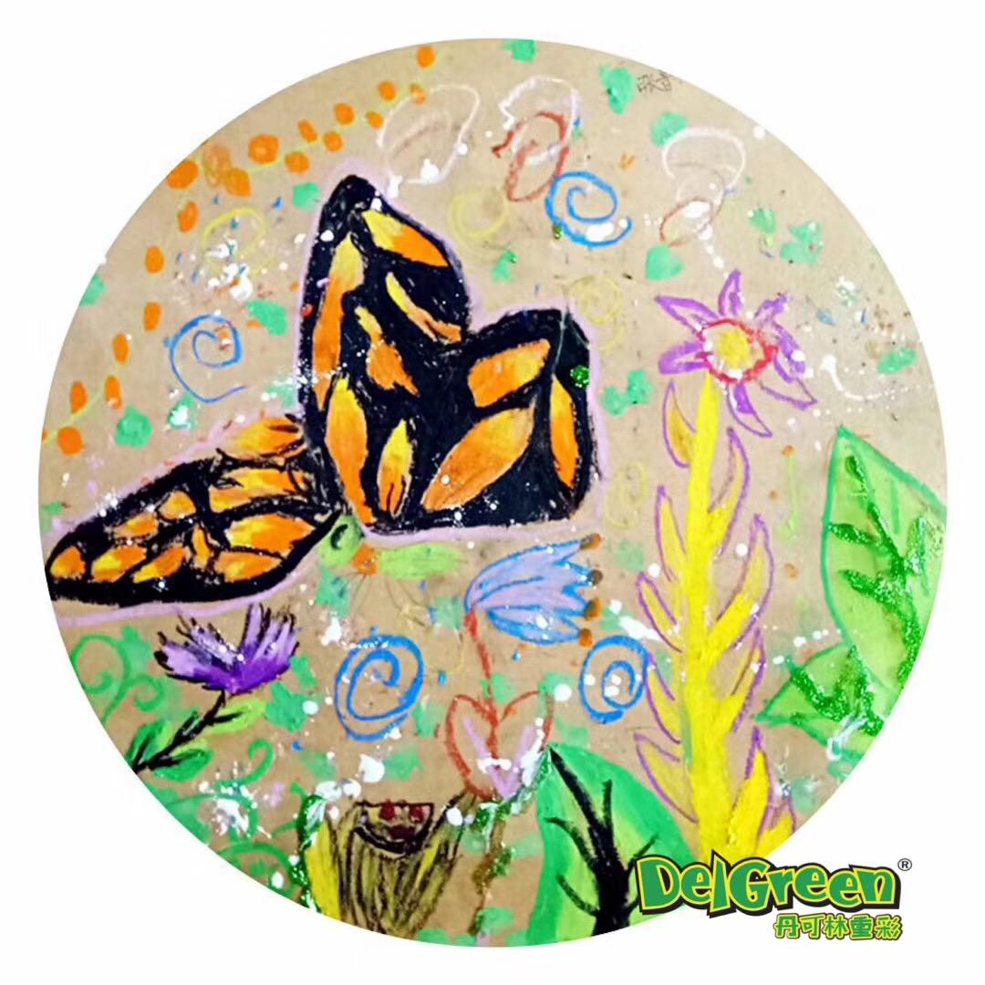 重彩油画棒作品分享——春天蝴蝶写生