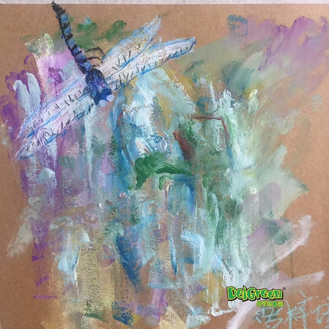 重彩油畫棒作品分享——春天蜻蜓寫生