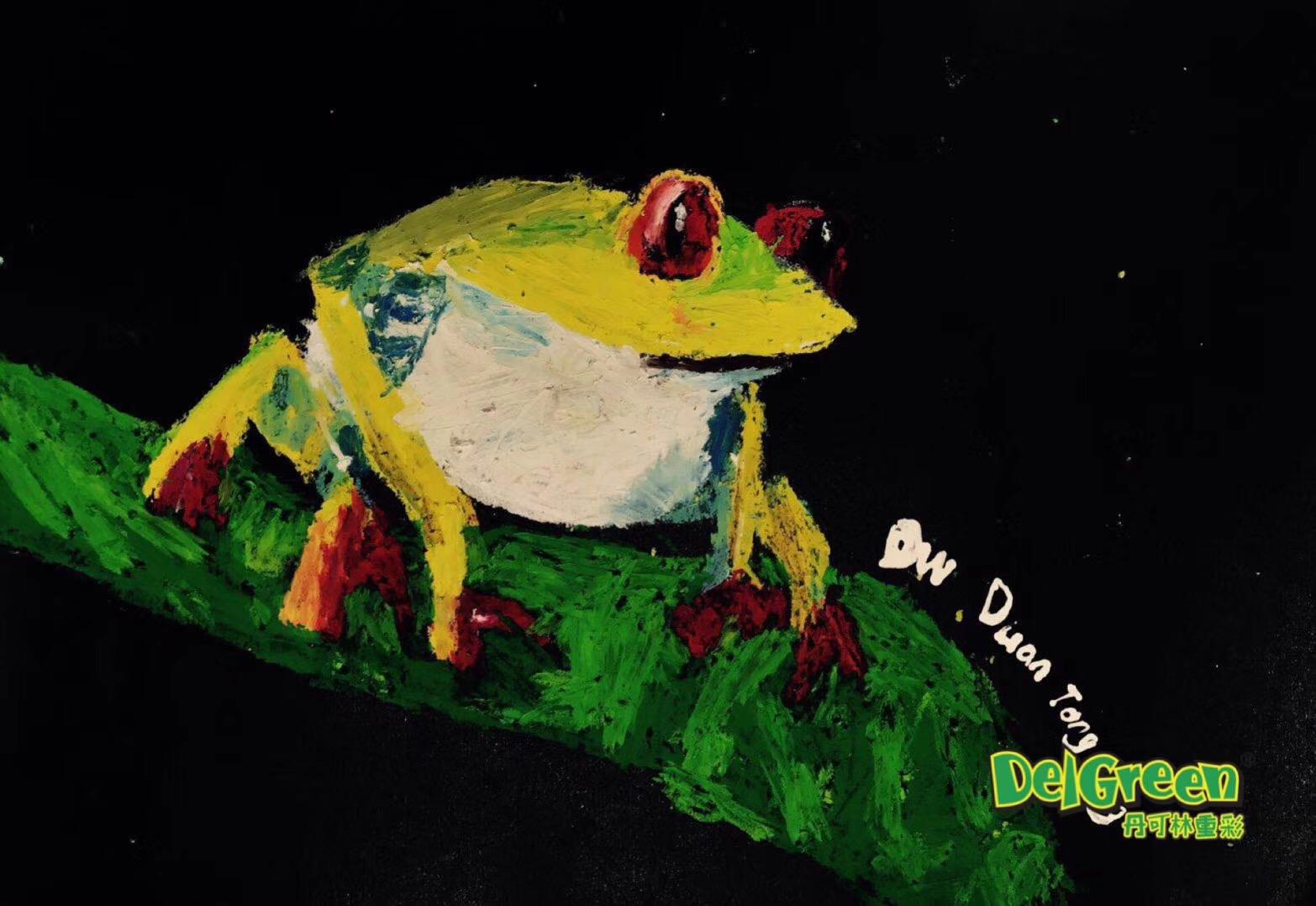 重彩油画棒作品__蝉和青蛙