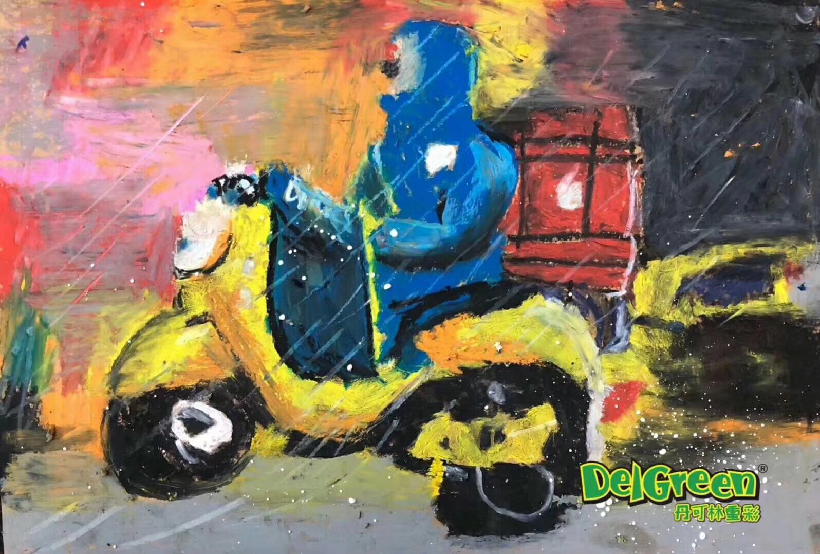 儿童油画棒作品__风雨中的外卖小哥
