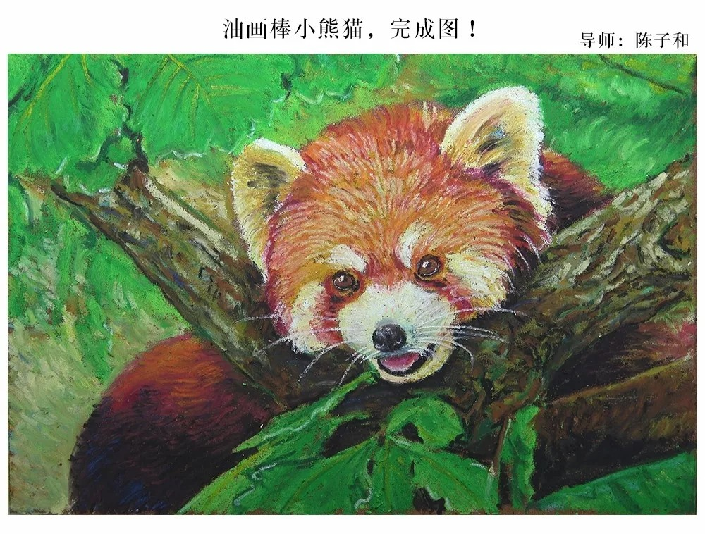 油画棒还可以这么美!3分钟,教你用油画棒画软软萌萌的小熊猫